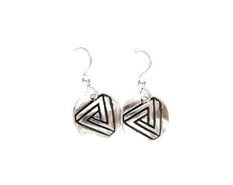 Sterling geometry earrings, impossible geometric image, optical illusion gift, geeky jewelry, engineer jewelry, architect gift, techie gift