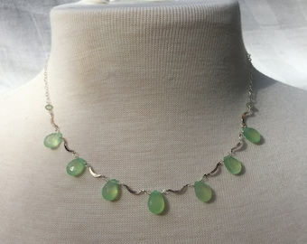 Green chalcedony and silver wire wrapped necklace