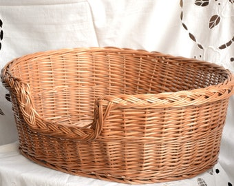 Oval Dog Bed, Wicker Dog Bed, Oval Cat Bed, Wicker Dog Basket,Willow Cat Basket, Small/Medium Dog Wicker Basket, Natural Material Dog Bed