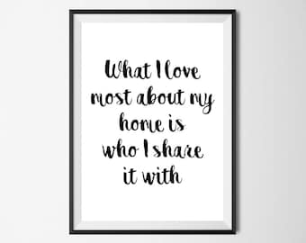 What I Love Most About My Home Is Who I Share It With Wall Print - Wall Art, Home Decor, Home Print, House Print