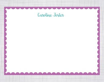 A7 Size Note Cards. Personalized Note Cards. Scallop Border Note Cards.