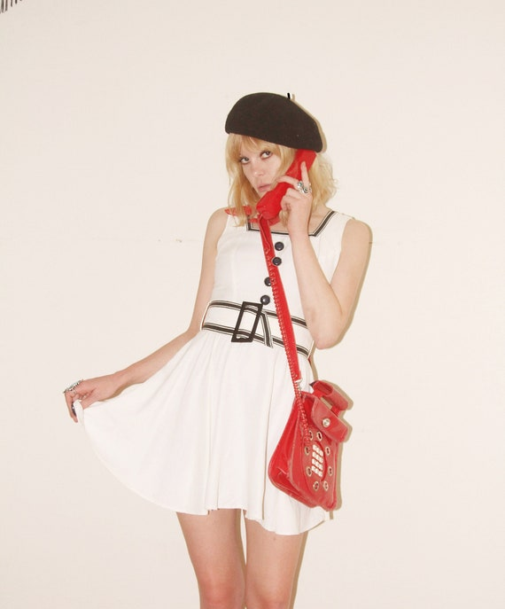 Vtg 80s Open Back Belted Mini Dress S