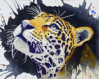 "Leopard 11"" x 17"" Watercolor Illustration"