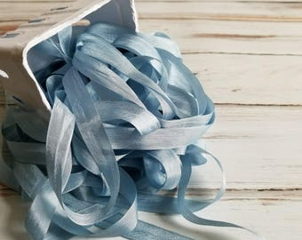 5 yards Danish Blue Seam Binding. Packaging, Scrapbooking, Shabby Pretty Embellishment