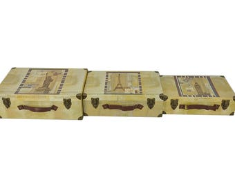 S/3 Decorative Cardboard Storage Trunk