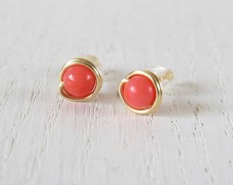 Pink coral earrings, Coral stud earrings