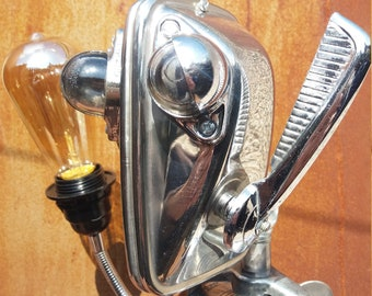 Stompy-bot robot light sculpture automobile classic car upcycle science fiction desk lamp edison vintage