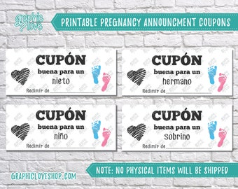 Spanish Digital Pregnancy Announcement Coupons, Grandchild, Niece/Nephew, Brother/Sister, Son/Daughter| PDF Instant Download, Ready to Print