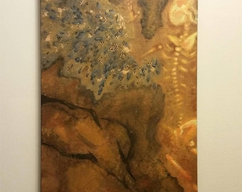 SALE Grave of Icarus OOAK Original Acrylic Painting on Canvas-- FREE Shipping