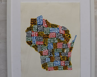 Wisconsin Map Wall Art | WI poster | acrylic painting | home decor, map of Wisconsin