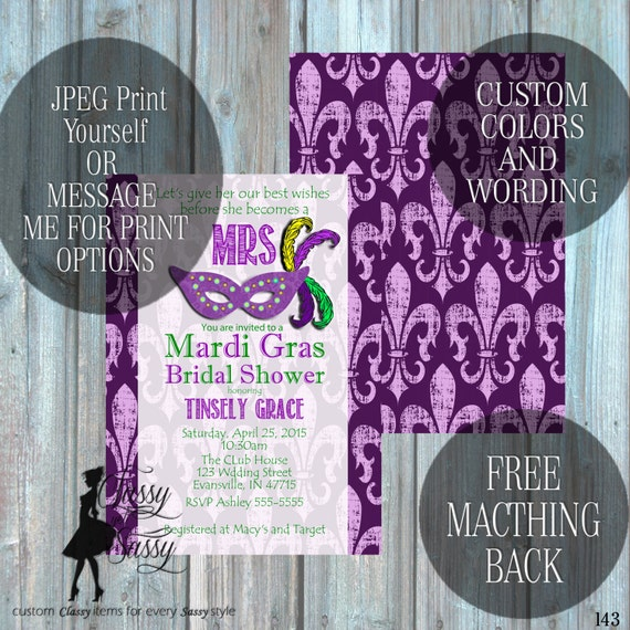 Mardi Grad Bridal Shower Invitation, Louisiana Wedding Shower Invitation, Carnival Shower party Invitation 206