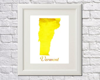 Vermont State Map Vermont Print Vermont Art Vermont State Outline Vermont Home Decor Wall Art