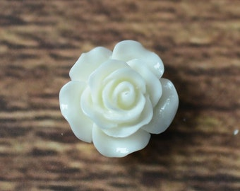 16mm Resin Rose Flower, Flat Backs for Hairbows, DIY Hair Bow Supplies, Resin Rose Flatbacks LOT OF 1 or 2 White