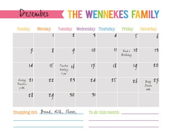 Printable Organization Calendar, gift for mom, Personalized Calendar, Family Calendar Printable, 16 x 20 Family Planner, House warming gift