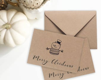 Set of 10 Mini Christmas Cards with  cute Snowman Doodle Christmas Card Set Rustic Christmas Cards or Gift Tags Christmas  Holiday Notecards