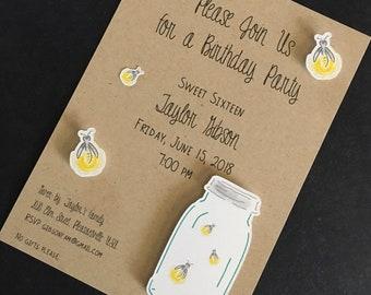 "Firefly Mason Jar Invitation; Kraft paper 5"" x 7"":  die cut mason jar and fireflies, 3d; set of 6; bridal shower, birthday, rehearsal dinner"