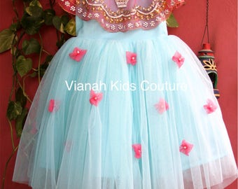 Cute embellished cape gown for your lil ones.