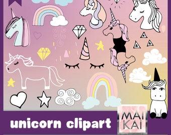 Unicorn Clipart Elements Pastel Hand Draw Cute