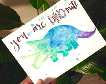You Are DINO-mite watercolor card