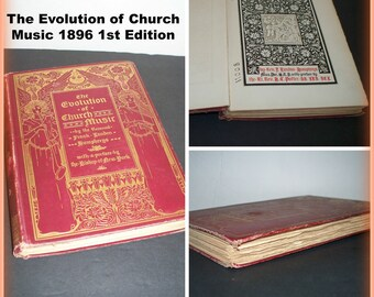 "RARE 1st Edition 1896 "" The Evolution of Church Music "" by Rev. Humphreys Red Cloth Hardcover Gold Gilt Antiquarian Religious Book"