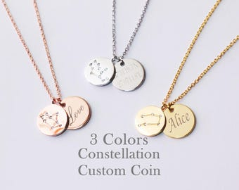 Engraved necklace etsy constellation initial necklace 2 coins necklace coin name necklace engraved necklacecustom aloadofball Choice Image