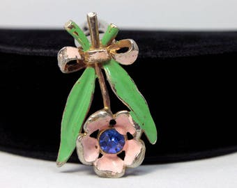 Flower Dress Clip with Enamel and Rhinestone - Fred Gray Corp.