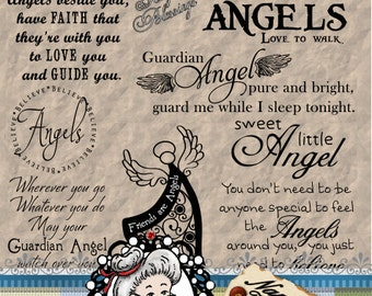 Angel 1 Word Art, Sentiments, Photography Overlay, Digital Stamp, Scrapbook, Instant Download  ID:NV-WA0045 By Nana Vic