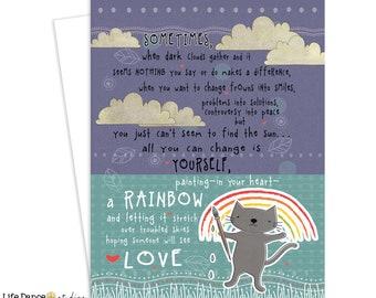 Greeting Card, Rainbow, Encouragement, Love, Friendship, Inspirational Art, Greeting Card, Cat