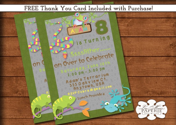 reptile birthday invitation birthday party invitation boy