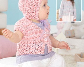 Knitting Pattern Baby cardigan and hat  sirdar 4463  size 0-7yrs  new