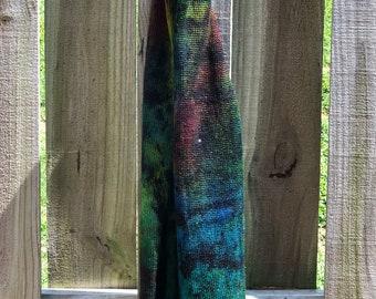 Cosmic Gas 09 OOAK - silver stellina merino sparkle knitted flat blank splotch red green blue teal black grunge sock cosmos galaxy space