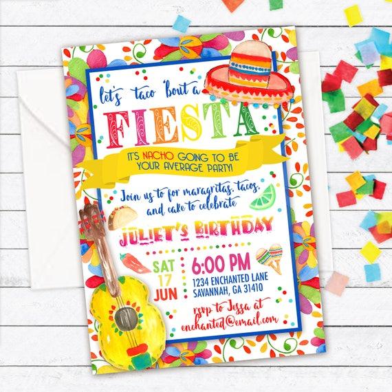 fiesta party invitation summer party invite fiesta birthday