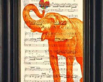 Elephant Print        Orange Elephant with Ball  print on upcycled Vintage Sheet Music Page mixed media  digital