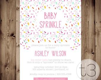 Baby Sprinkle Shower Invitation, sprinkle baby shower invite, GIRL baby shower, baby sprinkle, sprinkle party, watercolor sprinkle