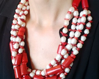 Necklace with freshwater pearls and Red bamboo  coral.