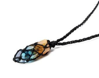 Festival Necklace, Mens Necklace, Hemp Necklace, Aura Quartz Jewelry, Crystal Necklace, Gift for Him, Celestial, Boho Jewelry