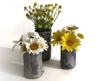 Ceramic Bud Vase Set, Pottery Flower Vase or Fresh Herb Holder, Purple Home Decor