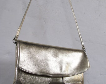 The Clutch Purse with wristlet and shoulder strap - Gold leather