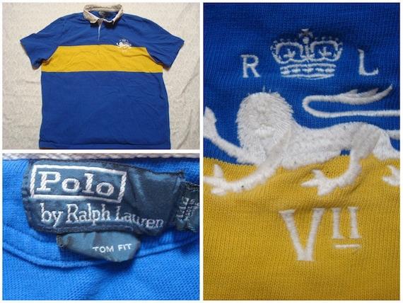 Vintage Retro Men's Polo Ralph Lauren Polo Shirt Yellow Blue Stripe Lion Crest Cotton Pique Short Sleeve XXL m07xwAuuC