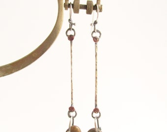 Dangle Geometric Beach Stone Earrings Sterling Silver with Copper Accents - Metalsmith - Rachel M Post