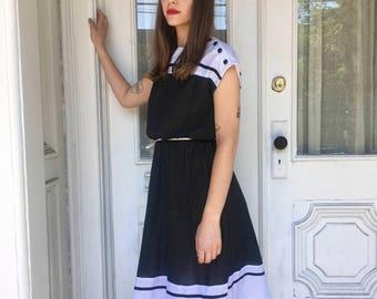 1980's Black and White Polka Dot Dress/ Midi Length Polka Dot Dress/ Black Vintage Dress/ Boat Neck/ Vintage Polka Dot Dress/ Cap Sleeves