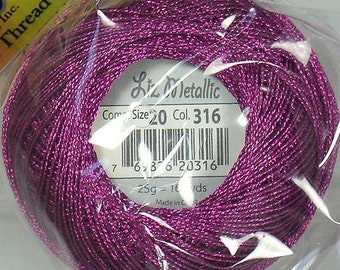 Lizbeth Metallic Thread: #316 Raspberry Pink