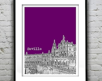 Seville Spain City Skyline Poster Art Print