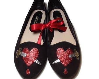 Bleeding Heart Customised Ballet Shoes