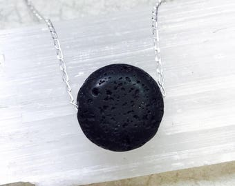 Sterling Essential Oil Diffuser necklace. Aromatherapy Necklace. Lava Stone Necklace. Minimalist Necklace. Minimalist Jewelry. Lava pendant.