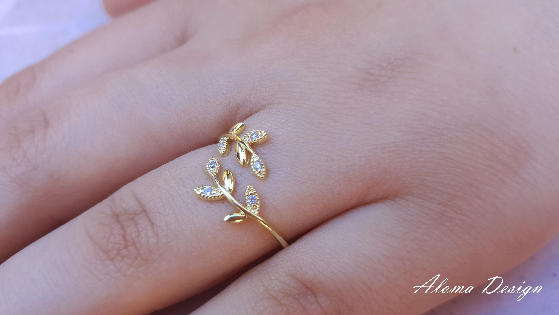 Leaf Ring. Ladies Golden Ring Gold Ring. Tiny adjustable