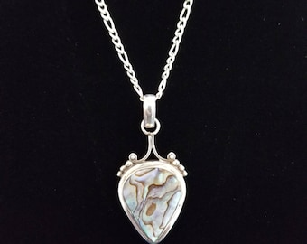 CP121 Vintage Large Avalon Sterling Silver Pendant with Sterling Silver Figaro Chain