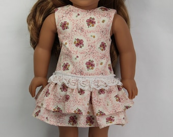 Dropped Waist Dress with Tierred Ruffle Skirt for 18 inch Dolls such as AG