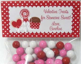 Valentine Treat Bag Topper-Valentine Polka Dot Sweets Treat Bag Topper-Printable Valentine-Sweets Treats Bag Topper-Printable Valentine Bag