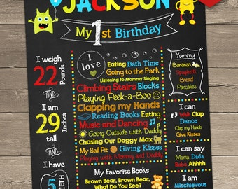 Little Monster 1st Birthday, Little Monster First Birthday Chalkboard, Printable Chalkboard Sign